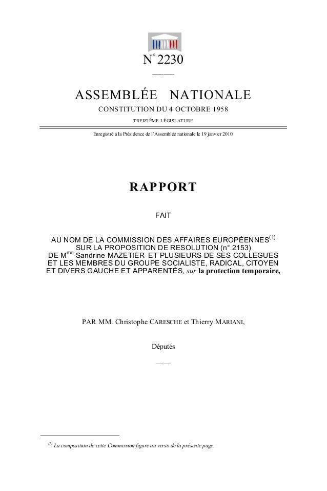 N° 2230 ______ ASSEMBLÉE NATIONALE CONSTITUTION DU 4 OCTOBRE 1958 TREIZIÈME LÉGISLATURE Enregistré à la Présidence de l'As...