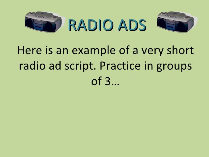 R3 1 Radio Ad Example Script & Ideas 1