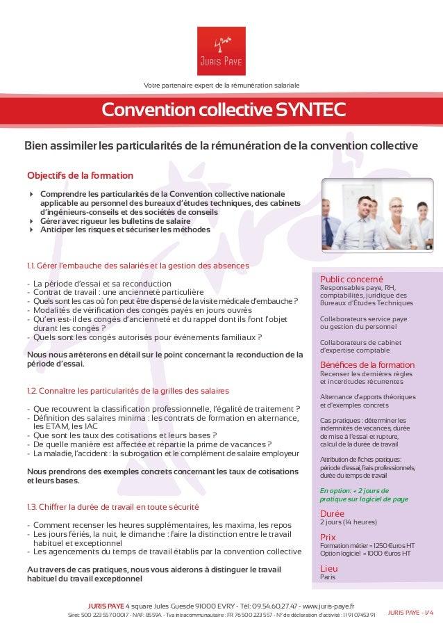Votre partenaire expert de la rémunération salariale  Convention collective SYNTEC  Bien assimiler les particularités de l...