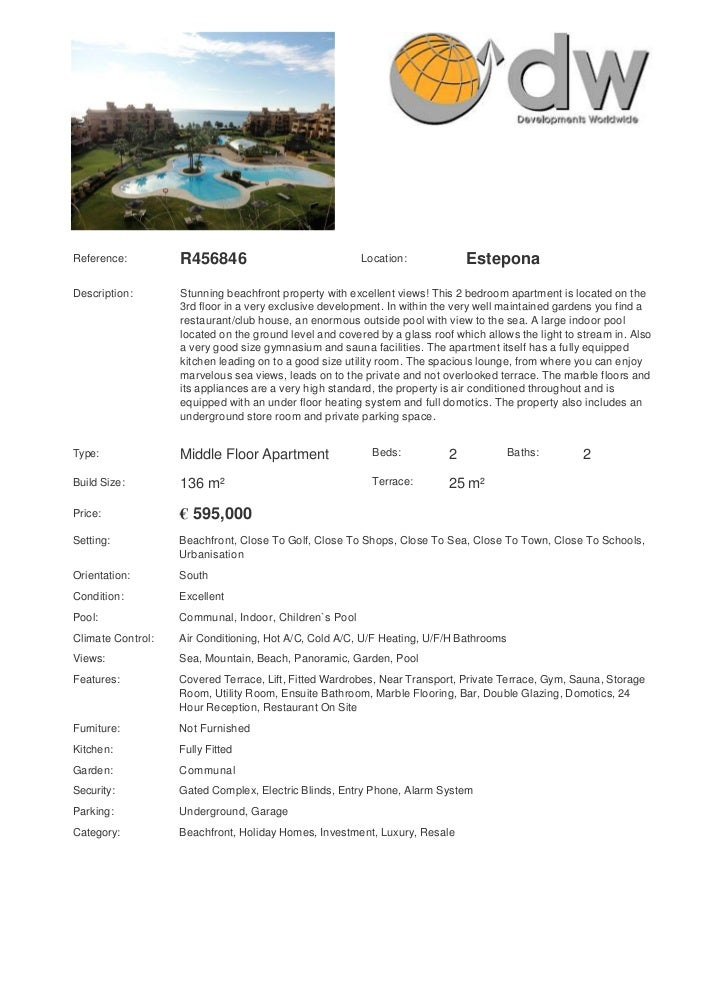 Reference:         R456846                              Location:             EsteponaDescription:       Stunning beachfro...