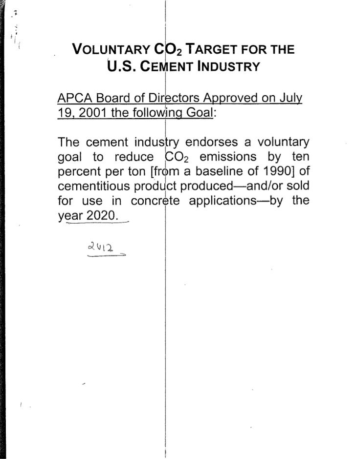 VOLUNTARY CO2 TARGET FOR THE       U.S. CEM ENT INDUSTRY APCA Board of Directors; Approved on July 19, 2001 the follo :ing...