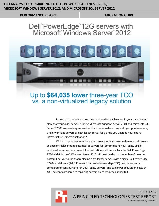 TCO analysis of upgrading to Dell PowerEdge R720, Microsoft Windows Server 2012, and Microsoft SQL Server 2012