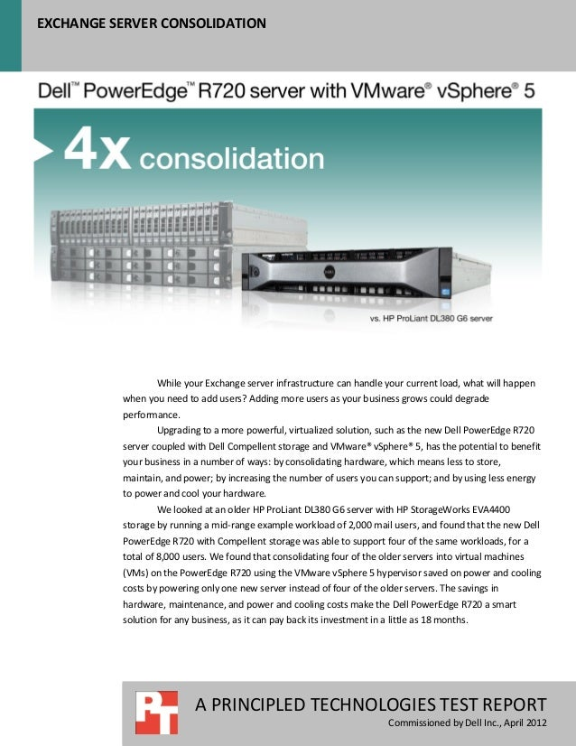 Dell PowerEdge R720 server with VMware vSphere 5 - Exchange server consolidation