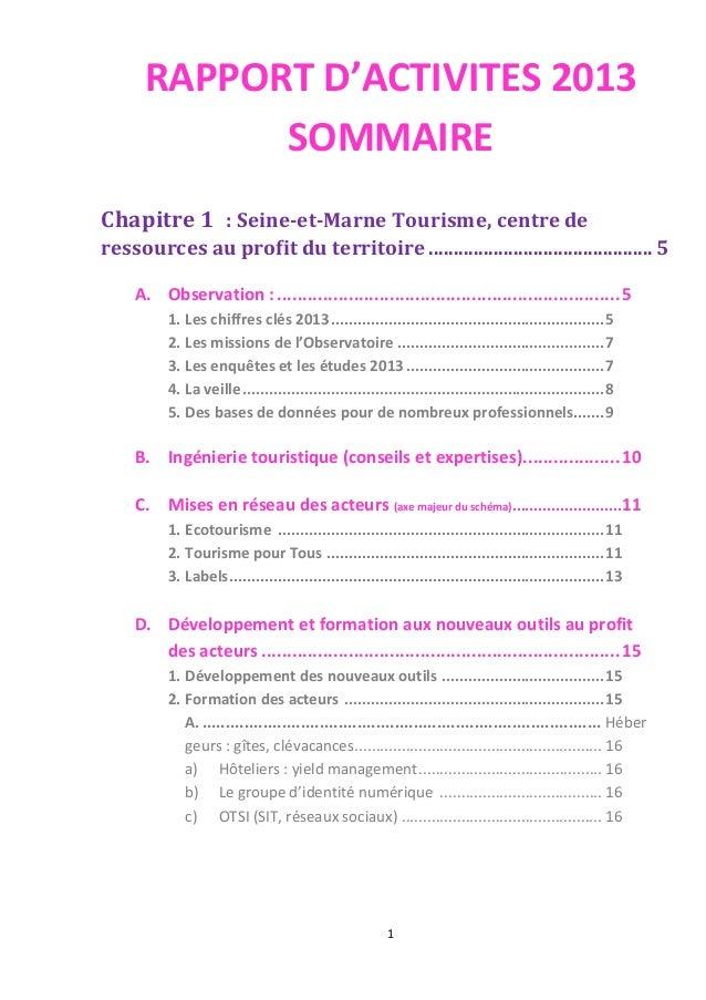 1 RAPPORT D'ACTIVITES 2013 SOMMAIRE Chapitre 1 : Seine-et-Marne Tourisme, centre de ressources au profit du territoire.......