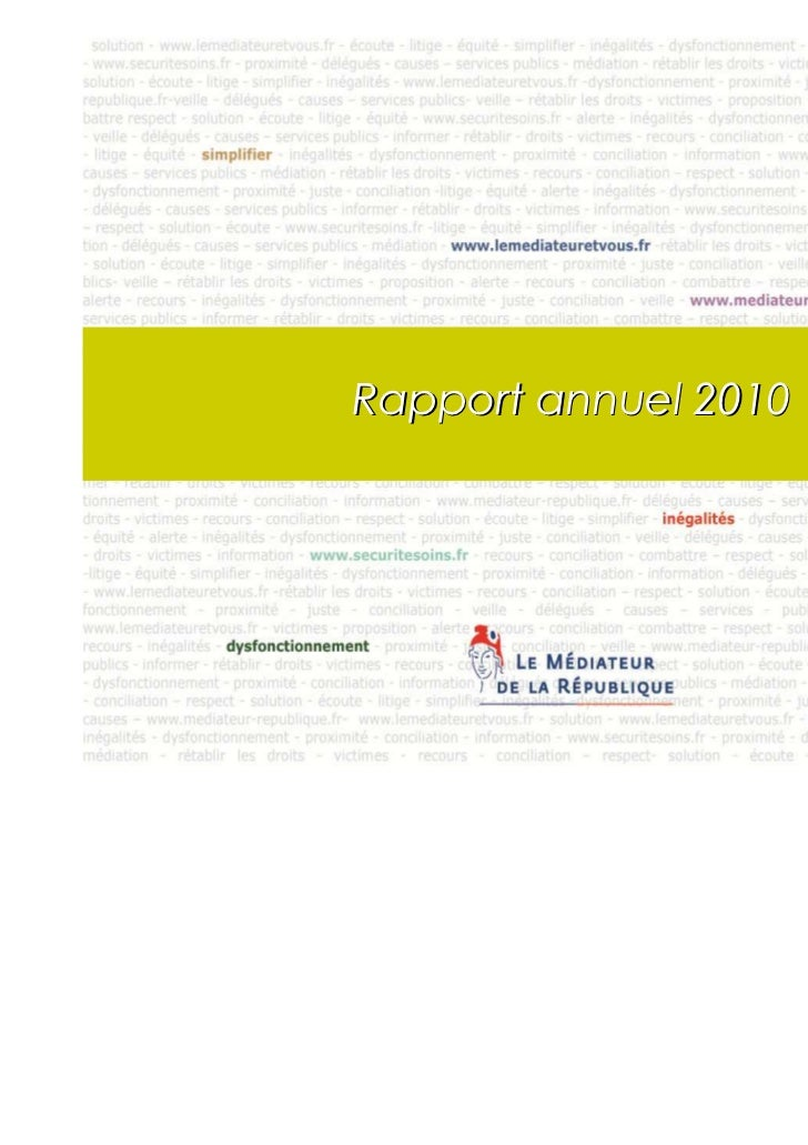 Rapport annuel 2010                      1