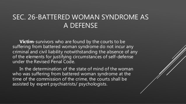 an introduction to the issue of battered womens syndrome Woman syndrome in battered women's self- introduction whatever the court was never presented with the precise issue of the admissibility of.