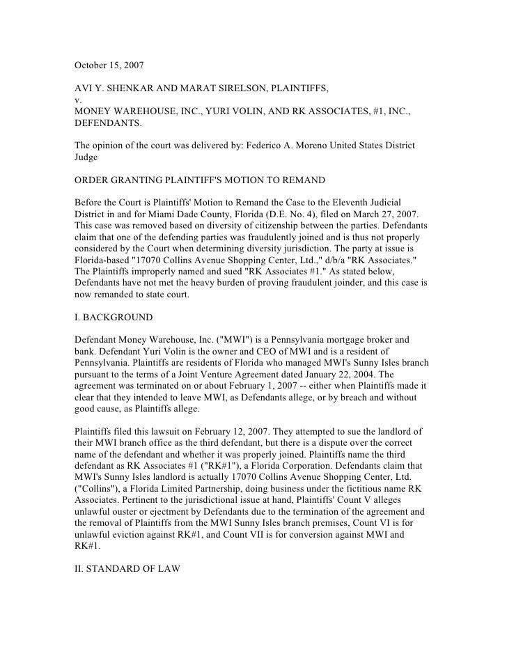 October 15, 2007AVI Y. SHENKAR AND MARAT SIRELSON, PLAINTIFFS,v.MONEY WAREHOUSE, INC., YURI VOLIN, AND RK ASSOCIATES, #1, ...