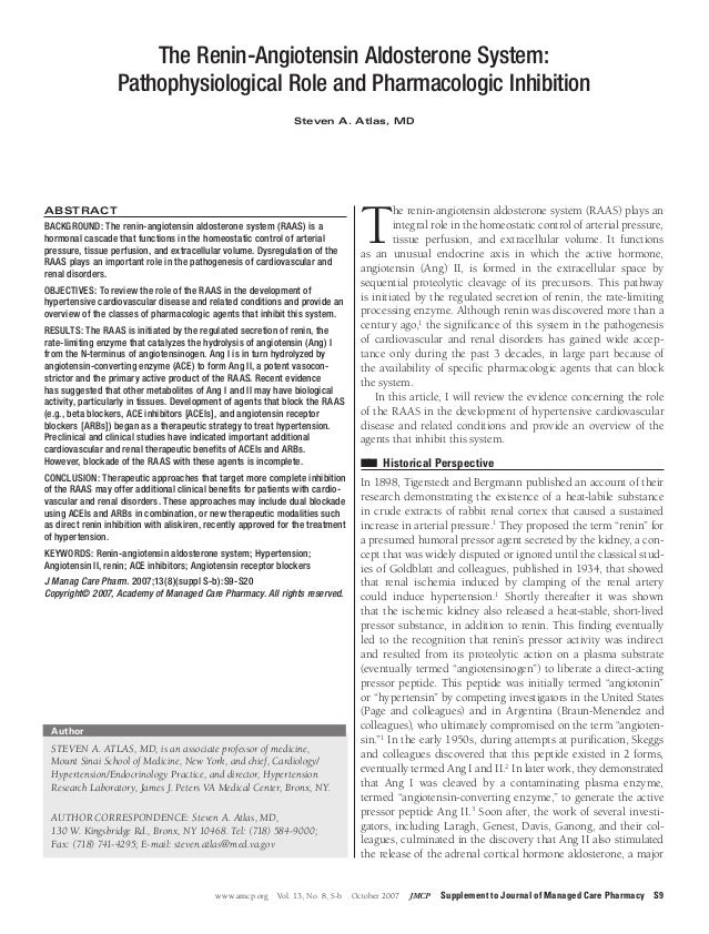 www.amcp.org Vol. 13, No. 8, S-b October 2007 JMCP Supplement to Journal of Managed Care Pharmacy S9The renin-angiotensin ...