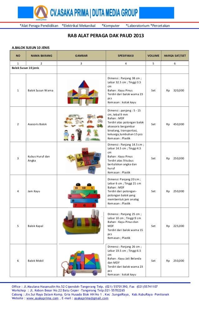 Rab Ape Paud  Daftar Harga Alat Peraga Pendidikan