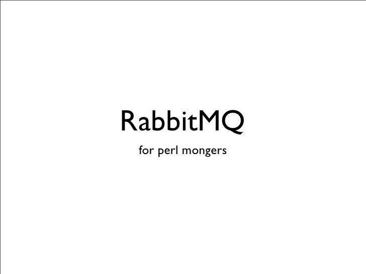 RabbitMQ for Perl mongers