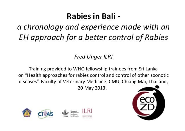 Rabies in Bali ‐ a chronology and experience made with an  EH approach for a better control of Rabies Fred Unger ILRI Trai...