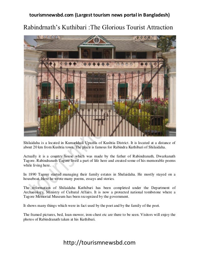 "tourismnewsbd.com (Largest tourism news portal in Bangladesh) http://tourismnewsbd.com Rabindrnath""s Kuthibari :The Glorio..."
