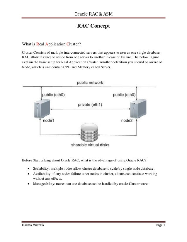 Oracle RAC & ASM Osama Mustafa Page 1 RAC Concept What is Real Application Cluster? Cluster Consists of multiple interconn...