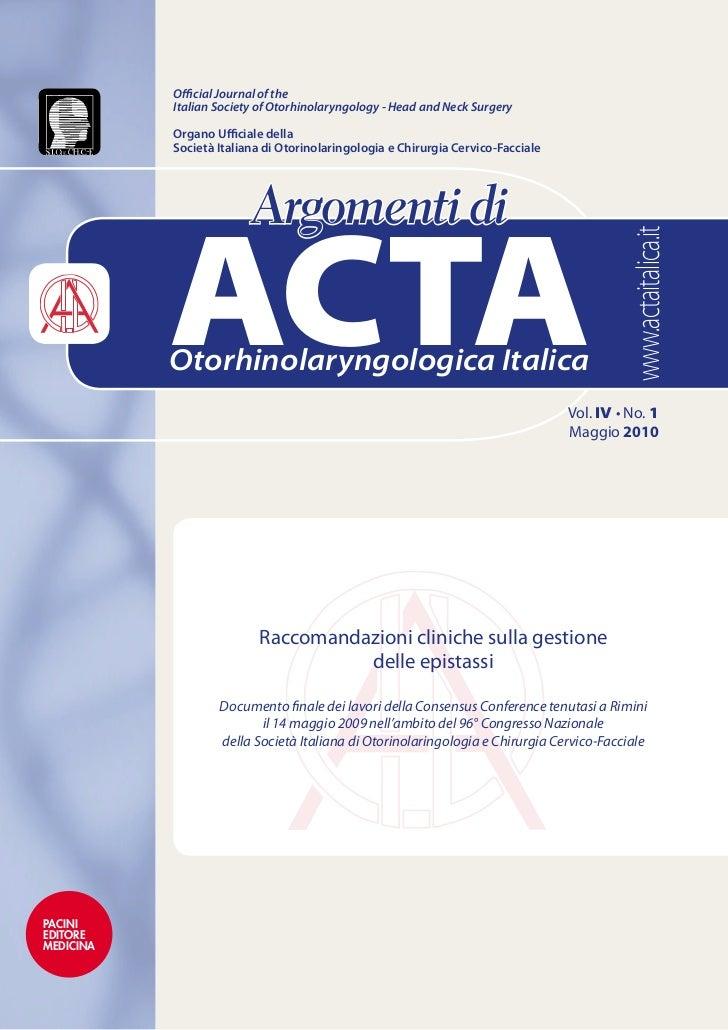 Raccomandazioni cliniche sulla gestione delle epistassi