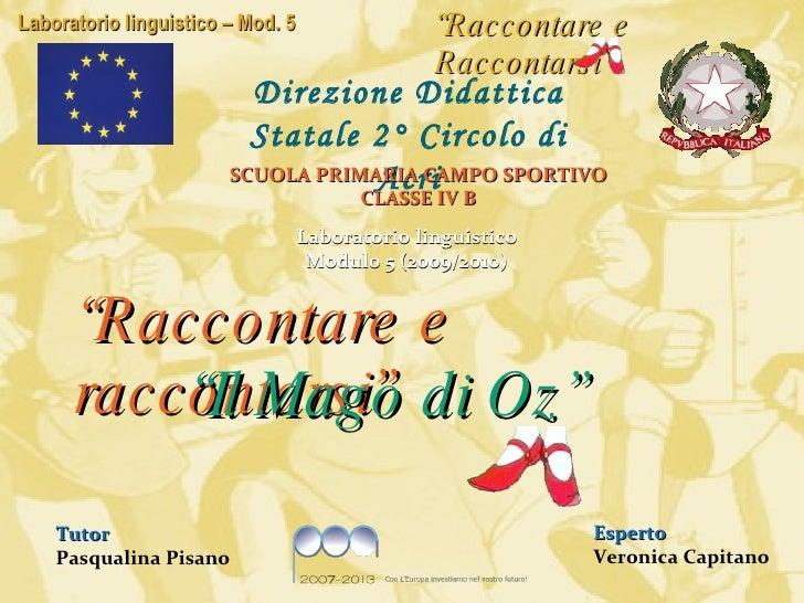 Laboratorio linguistico Modulo 5 (2009/2010) Tutor Pasqualina Pisano Esperto Veronica Capitano Direzione Didattica Statale...
