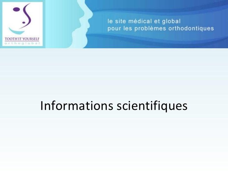 Informations scientifiques