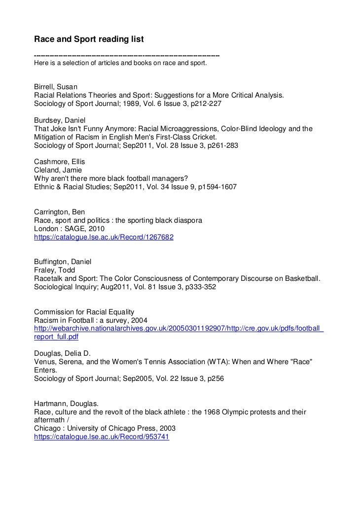 Race and Sport reading list------------------------------------------------------------------------------------Here is a s...
