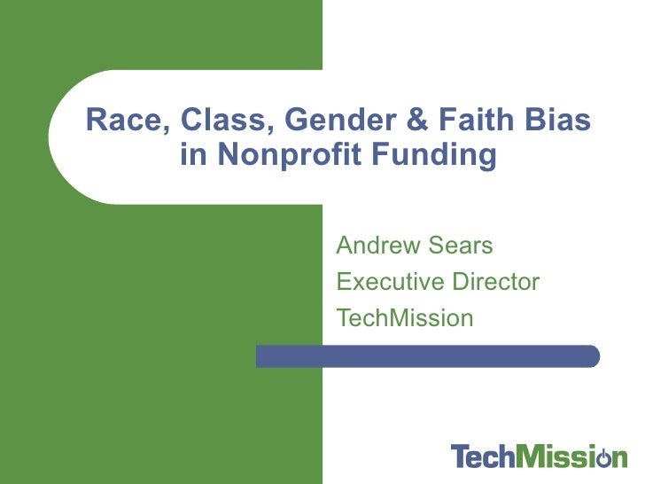 Race Class Gender Faith Nonprofit Funding