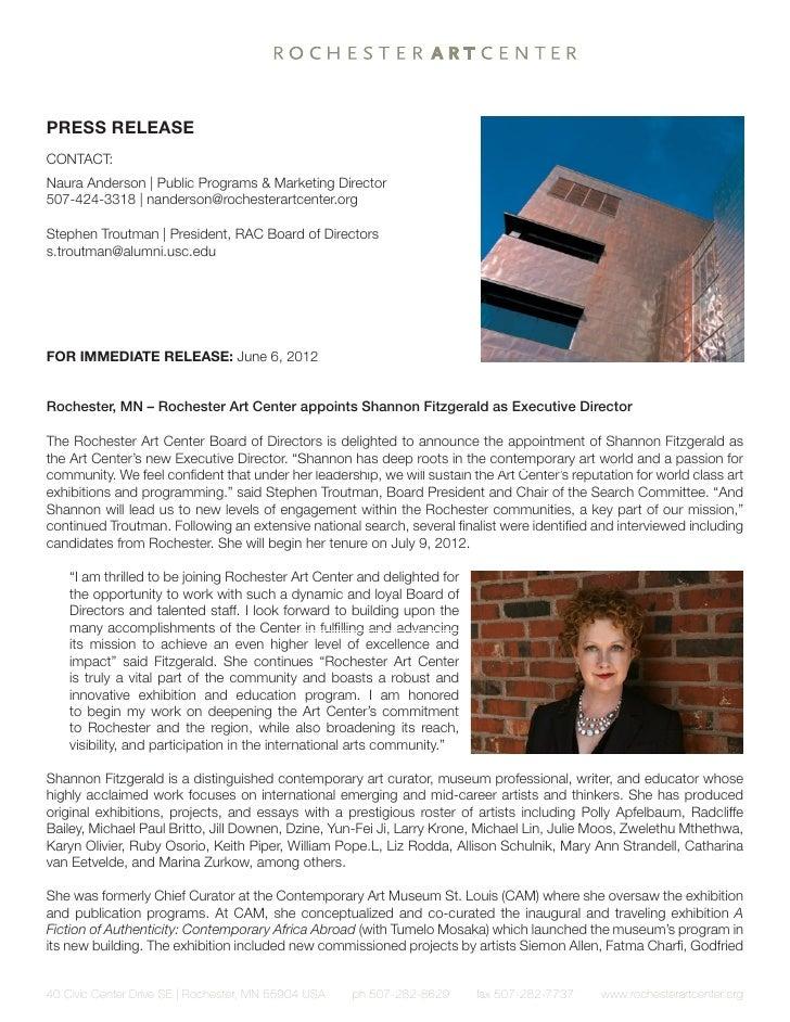Rochester Art Center press release