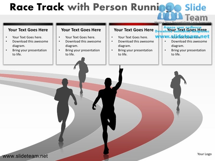 Race track with person running business race winner powerpoint presentation slides.
