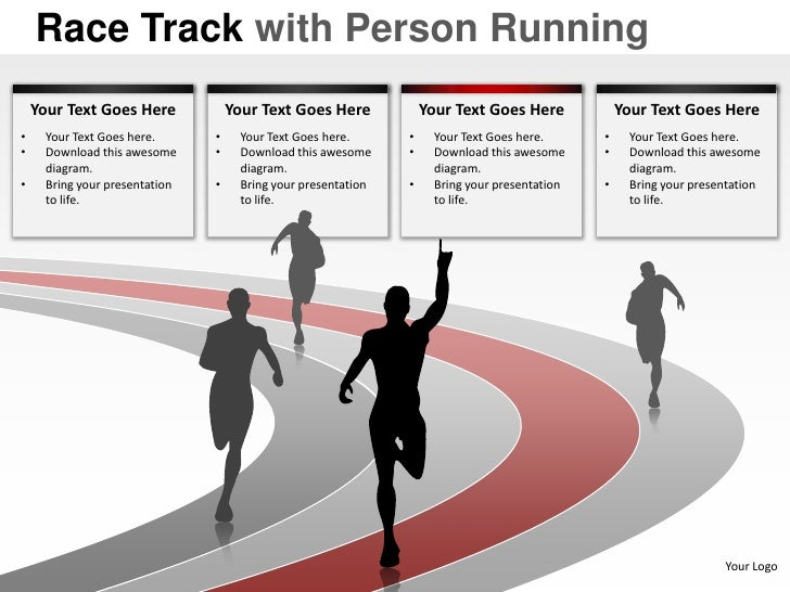 Race track with person running powerpoint presentation templates