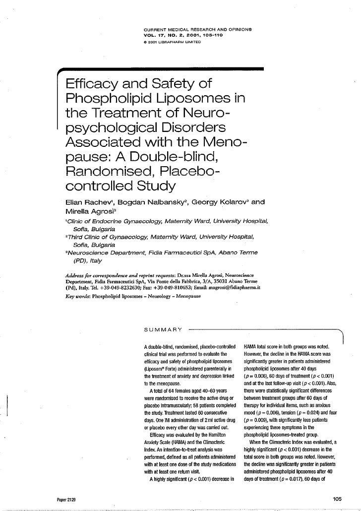 Efficacia e sicurezza dell'applicazione di liposomi fosfolipidici nel trattamento dei disordini neuro-psicologici associati alla menopausa: studio in doppio cieco, randomizzato e controllato con placebo