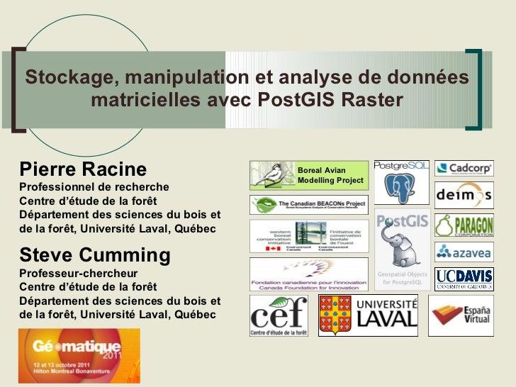 Stockage, manipulation et analyse de données matricielles avec PostGIS Raster
