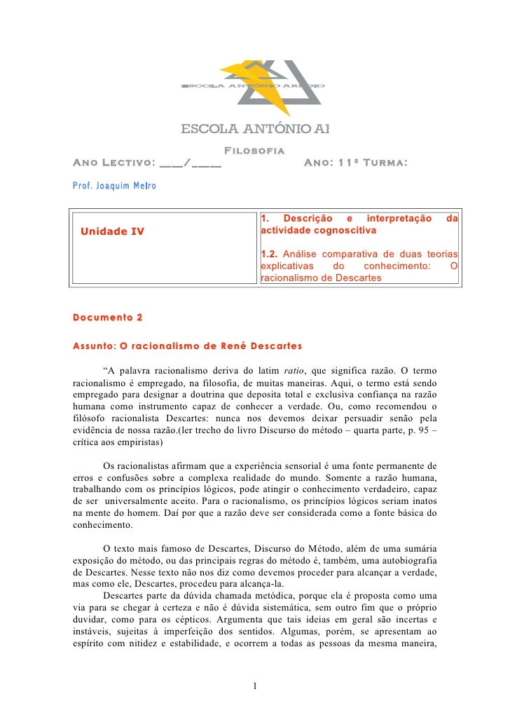 Filosofia Ano Lectivo: ____/_____                                Ano: 11º Turma:  Prof. Joaquim Melro                     ...