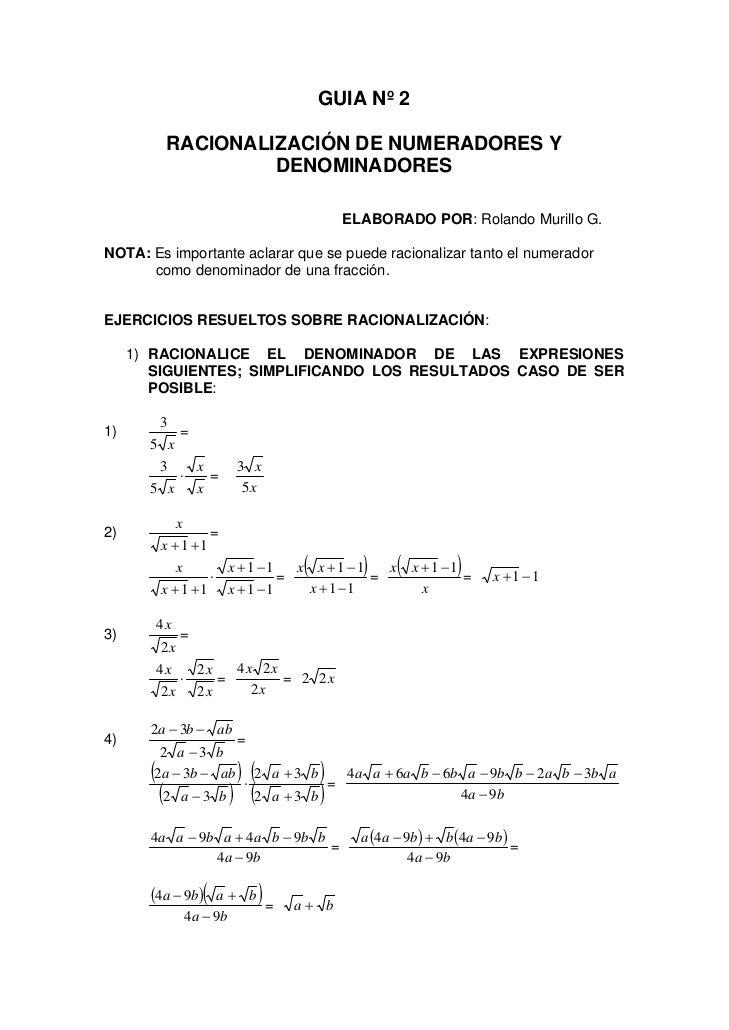 GUIA Nº 2              RACIONALIZACIÓN DE NUMERADORES Y                      DENOMINADORES                                ...