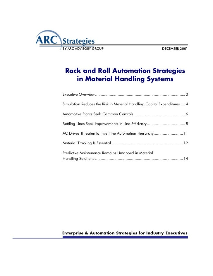 BY ARC ADVISORY GROUP                                                           DECEMBER 2001  Rack and Roll Automation St...