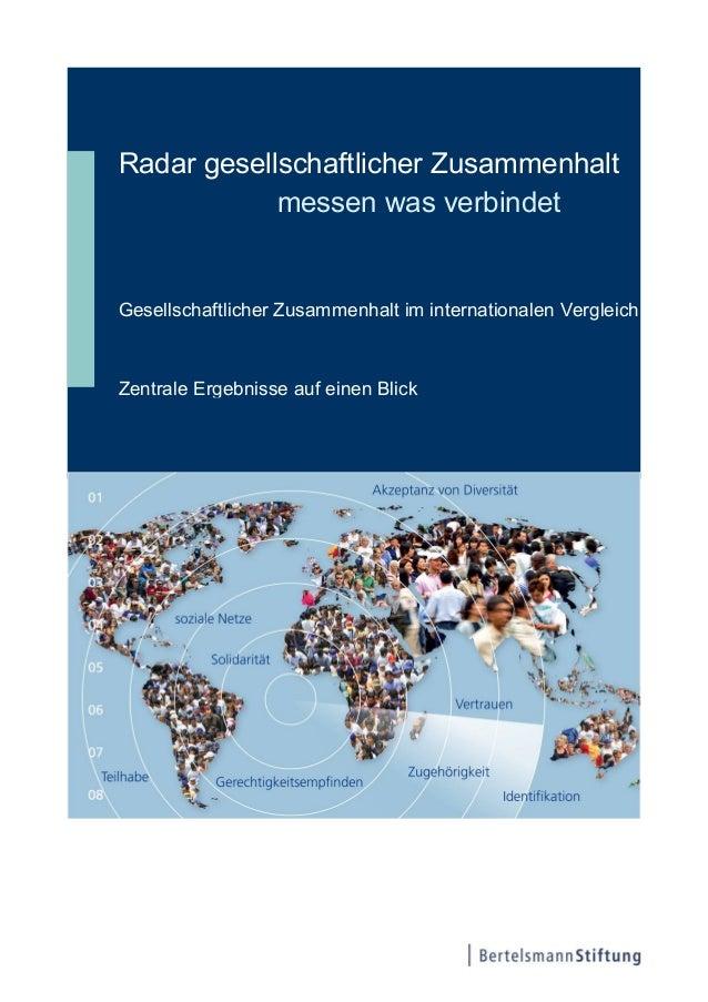 Radar gesellschaftlicher Zusammenhalt: Zusammenfassung