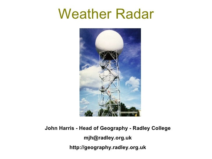 Weather Radar John Harris - Head of Geography - Radley College [email_address] http://geography.radley.org.uk