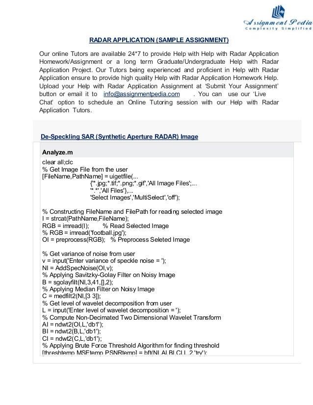 Radar application project help