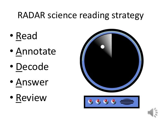 RADAR science reading strategy • Read • Annotate • Decode • Answer • Review