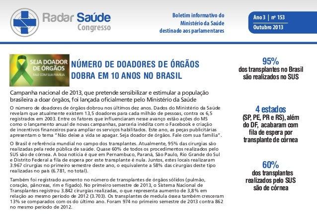 Radar Saúde  Congresso  Boletim informativo do Ministério da Saúde destinado aos parlamentares  Número de doadores de órgã...