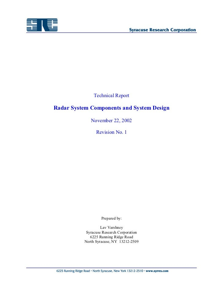 Technical ReportRadar System Components and System Design             November 22, 2002                Revision No. 1     ...