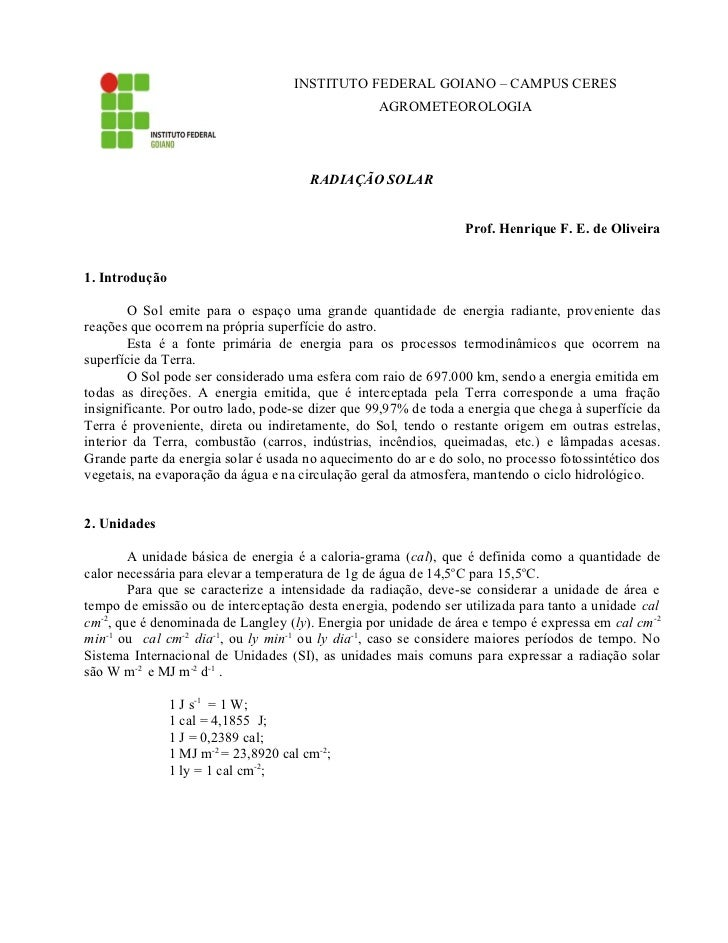 INSTITUTO FEDERAL GOIANO – CAMPUS CERES                                                   AGROMETEOROLOGIA                ...