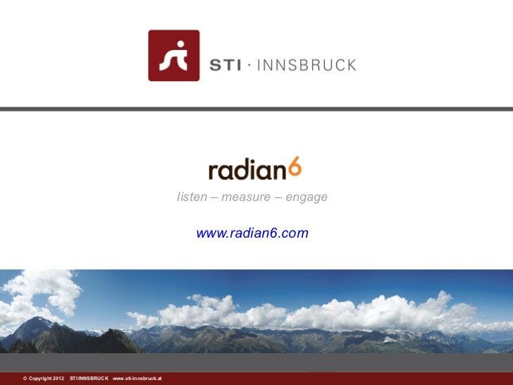 listen – measure – engage                                                          www.radian6.com©www.sti-innsbruck.at IN...
