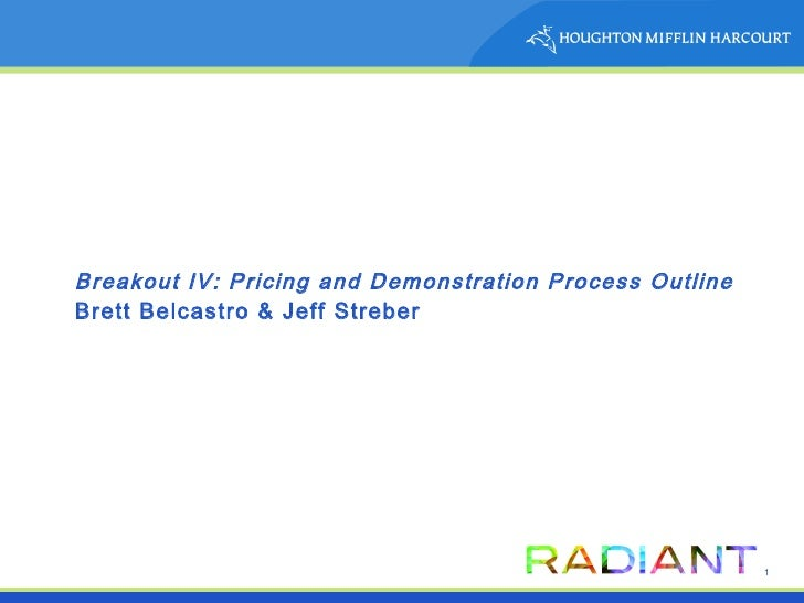 Breakout IV: Pricing and Demonstration Process Outline Brett Belcastro & Jeff Streber