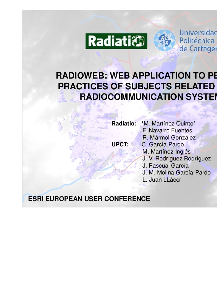 RADIOWEB: WEB APPLICATION TO PERFORM               PRACTICES OF SUBJECTS RELATED TO THE                   RADIOCOMMUNICATI...