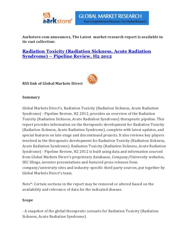 Radiation toxicity (radiation sickness, acute radiation syndrome) – pipeline review, h2 2012
