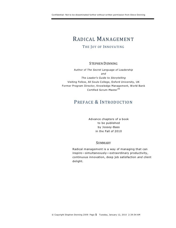 Radical Management Preface Introduction Steve Denning