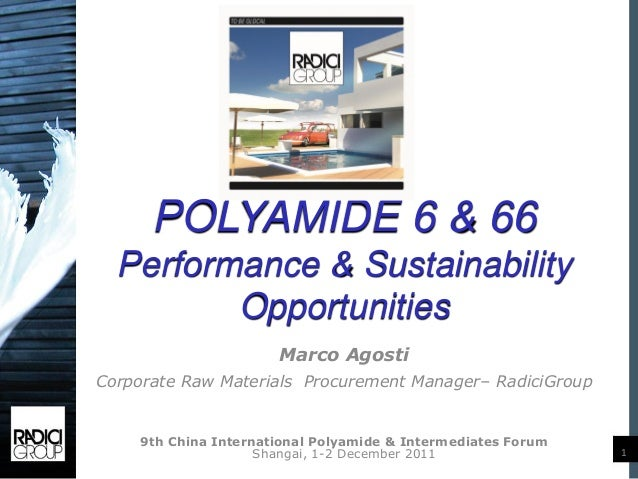 POLYAMIDE 6 & 66  Performance & Sustainability         Opportunities                      Marco AgostiCorporate Raw Materi...