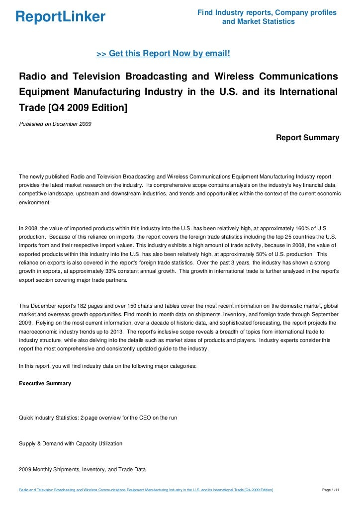 Radio and Television Broadcasting and Wireless Communications Equipment Manufacturing Industry in the U.S. and its International Trade [Q4 2009 Edition]