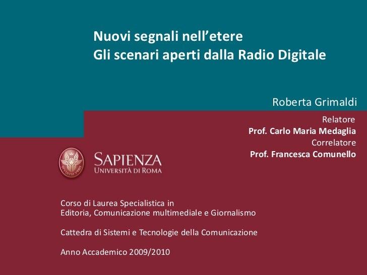 Radio Digitale (DAB, DAB+, DMB)_Roberta Grimaldi