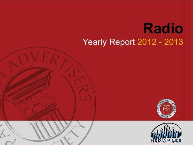 Pakistan Radio Advertising Industry Yearly Report 2013