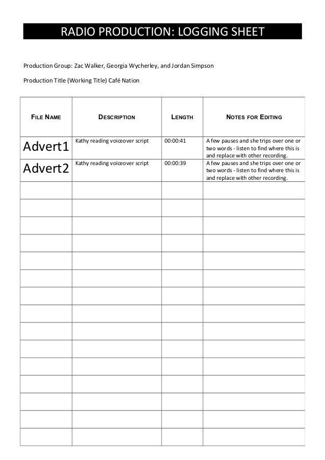 Radio logging sheet