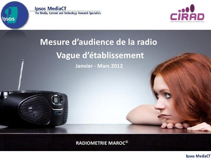 Mesure d'audience de la radio   Vague d'établissement        Janvier - Mars 2012        RADIOMETRIE MAROC©