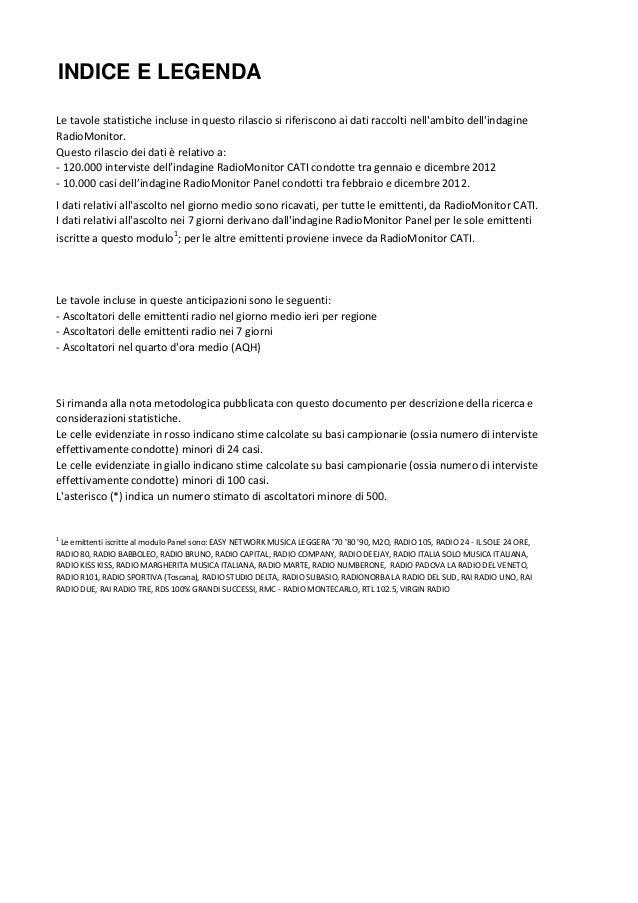 INDICE E LEGENDALe tavole statistiche incluse in questo rilascio si riferiscono ai dati raccolti nellambito dellindagineRa...