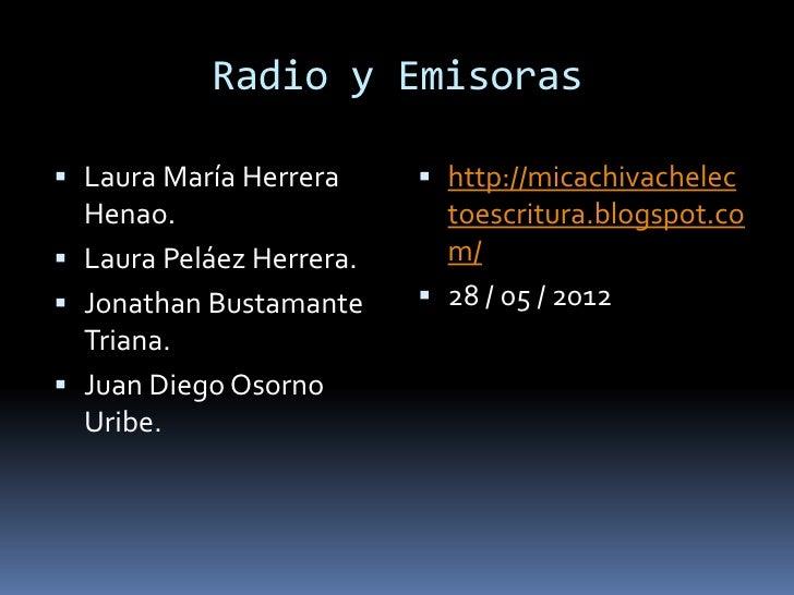 Radio y Emisoras Laura María Herrera      http://micachivachelec  Henao.                    toescritura.blogspot.co Lau...